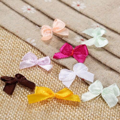 100Pcs Satin Ribbon Bows Mini Flowers 20*10mm Scrapbooking Wedding Decoration