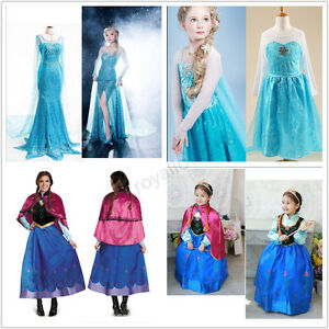 Image is loading Women-Frozen-Dress-Elsa-Anna-Princess-Girls-Halloween-  sc 1 st  eBay & Women Frozen Dress Elsa Anna Princess Girls Halloween Party fancy ...