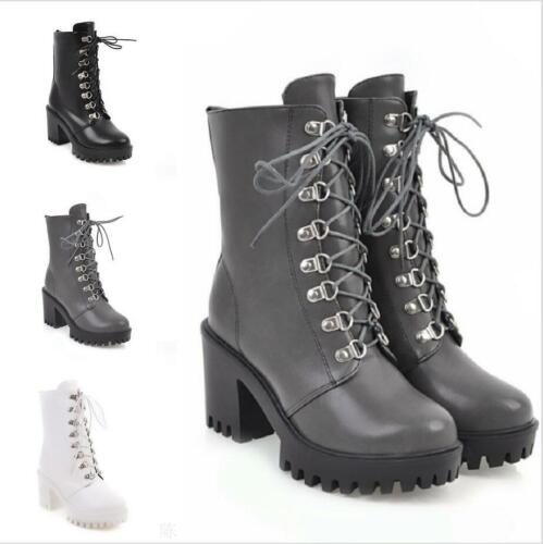 Women/'s Chunky Non-slip Heel Lace Up Round Toe Combat Military Ankle Boots 34-43