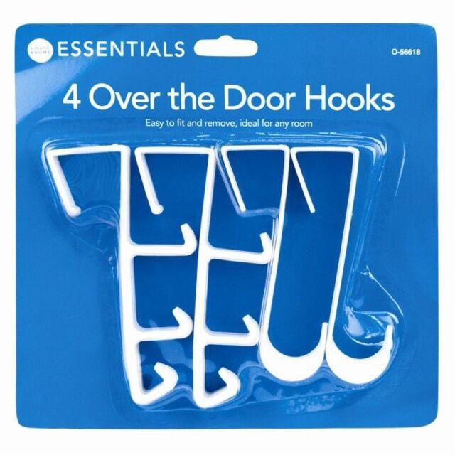 4x OVER THE DOOR MULTI HOOKS SPACE SAVER COAT DRESS CLOTHES WHITE HANGER RACK UK
