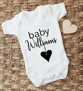 Personalised Baby Surname Grow Bodysuit Baby Vest Pregnancy Reveal Announcement