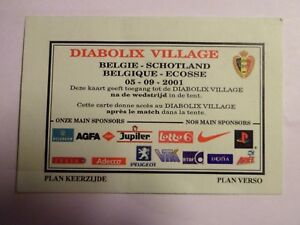 Belgique-Ecosse-05-09-2001-Acces-au-Diabolix-Village-Ticket-Football