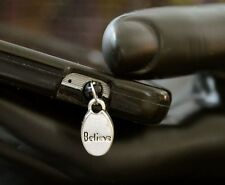 New Silver BELIEVE Yoga Charm Cell Phone Smart Phone Dust Plug