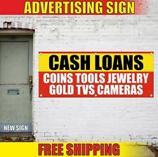 Cash Loans Banner Advertising Vinyl Sign Flag Pawn Shop Gold Coins Tools Jewelry