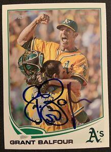 Grant Balfour Oakland A's Signed Autographed 2013 Topps Baseball Card #616 COA
