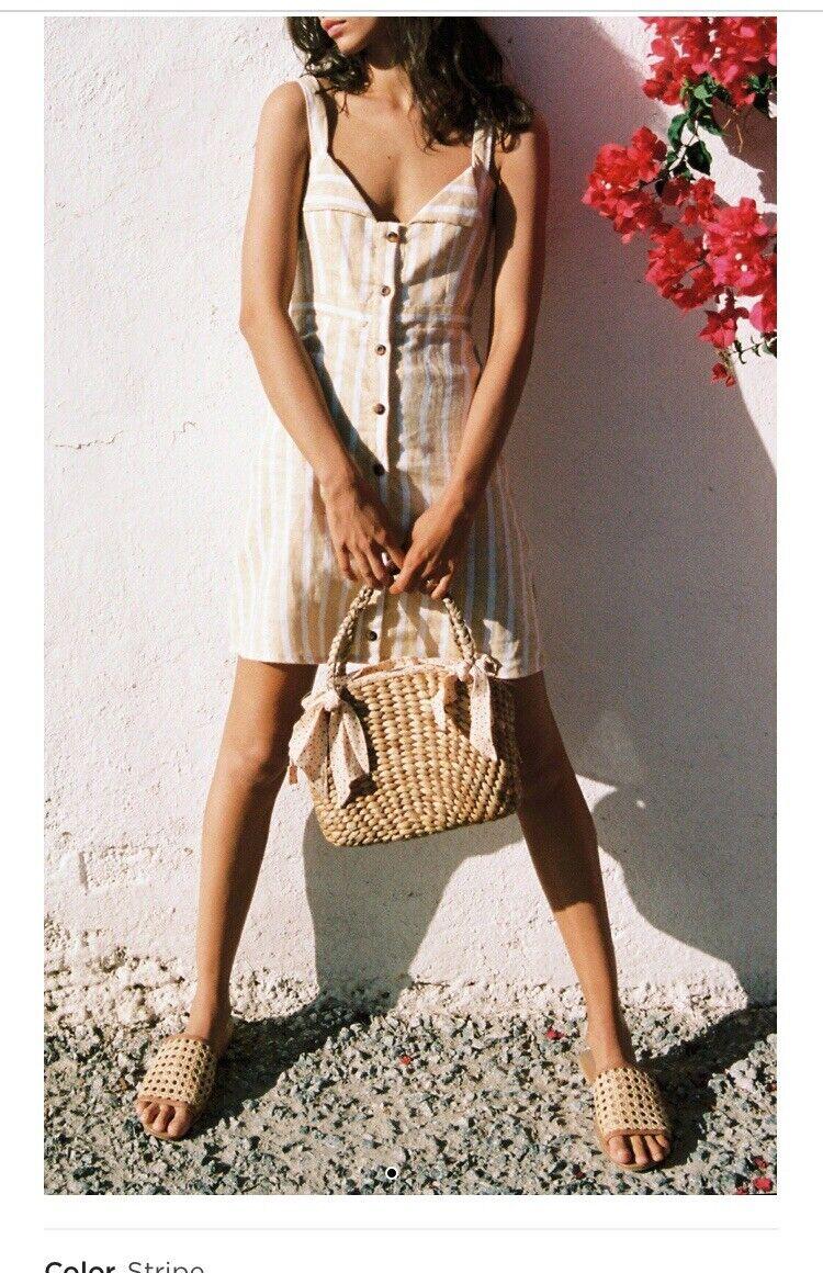 Faithful The Brand Le Petite Button Linen Dress M