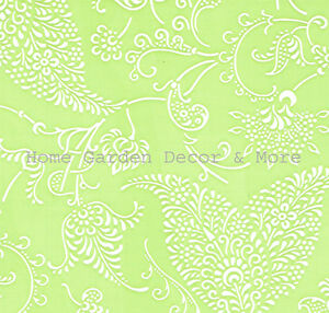 Green White Paisley Floral Vinyl Contact Paper Shelf