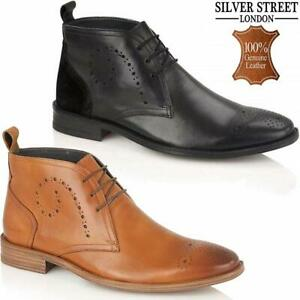 Mens-Leather-Boots-New-Smart-Formal-Brogue-Fashion-Lace-Ankle-Boots-Shoes-Size