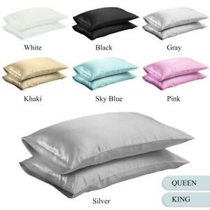 NEW-Solid-Queen-Standard-Silk-y-Satin-Pillow-Case-Bedding-Pillowcase-Smooth-Home