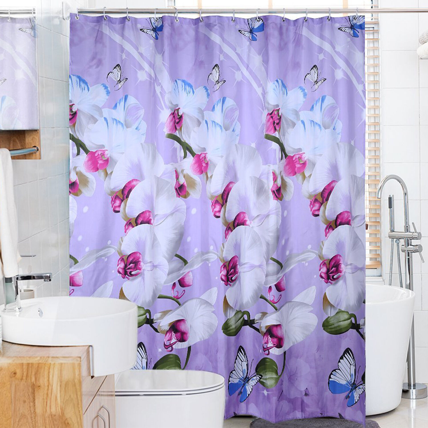 Fabric Shower Curtain Waterproof Polyester 72 X72 Flower Butterfly Purple Hooks
