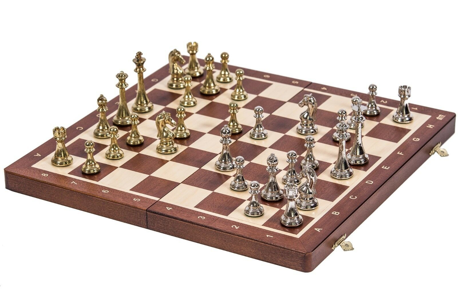 SQUARE - Chess Tournament No. 4  - Mahogany   Metal - Chessboard & Chess Pieces