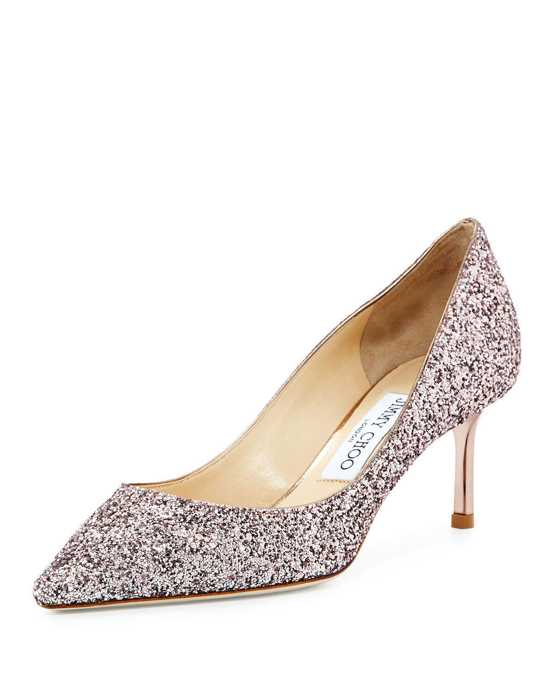 625+ Jimmy Choo ROMY Pointy Toe Pump Heel shoes Tea pink Glitter 37 - 6.5