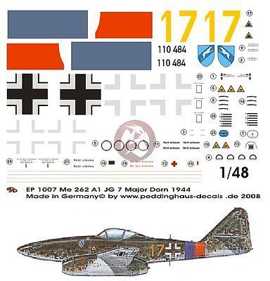 """Peddinghaus 1//72 Me 262 A-1a /""""Yellow 1/"""" Markings Walter Schuck 3.//JG 7 WWII 2119"""