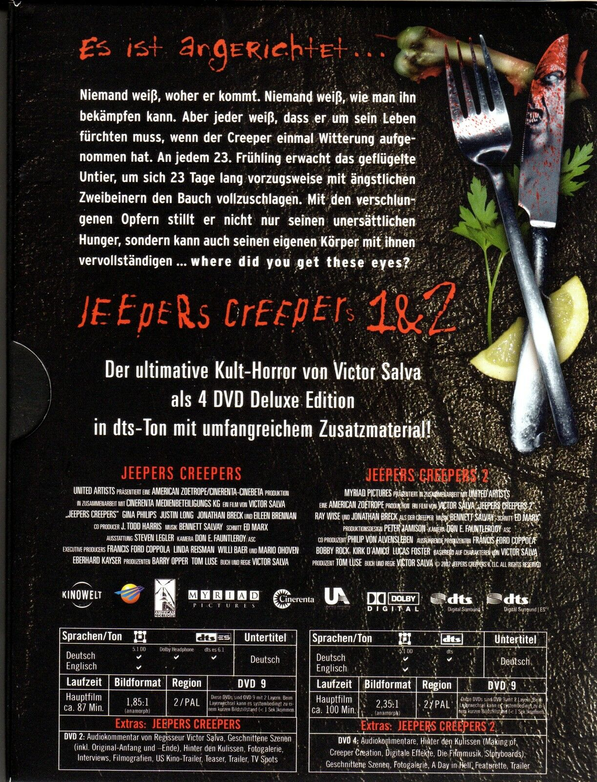 Jeepers Creepers 1 & 2 Deluxe Edition 4 DVDs by Victor Salva | DVD