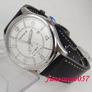 42mm-PARNIS-Weisses-Zifferblatt-Datum-Stahl-st1731-automatically-Bewegung-Uhr-Herrenuhr