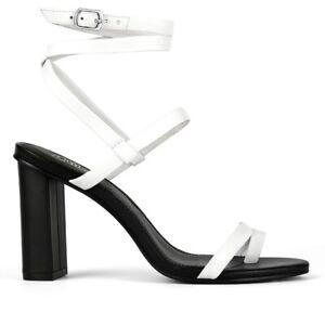Details about Regeena White Leather Block Heel Sandal