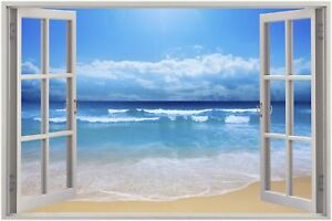 Huge-3D-Window-view-Exotic-Beach-Wall-Sticker-Film-Mural-Art-Decal-93