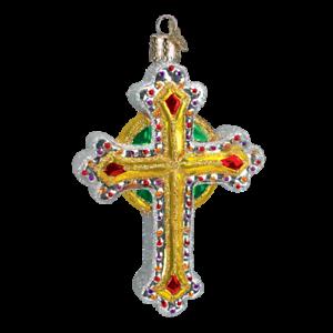 Old-World-Christmas-JEWELED-CROSS-w-Green-36068-N-Glass-Ornament-w-OWC-Box