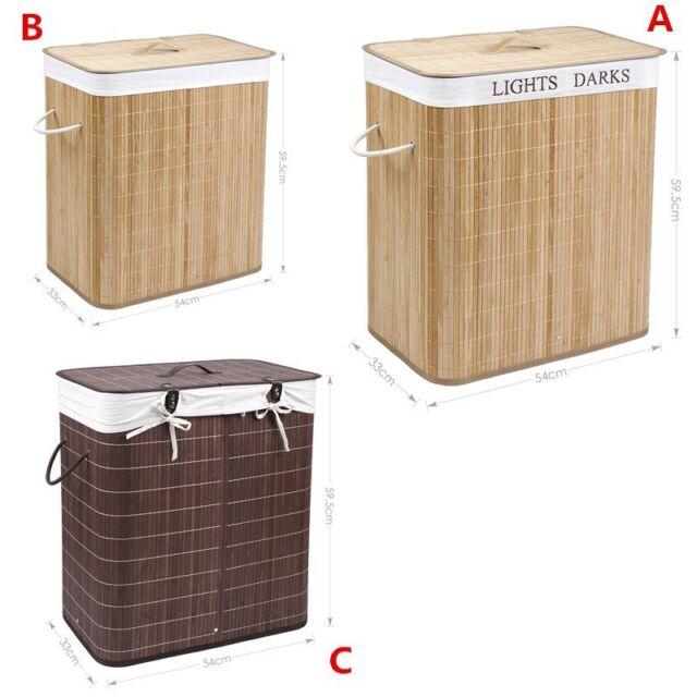Bamboo Laundry Basket Bag folding Cloth Lid Storage Bin Organizer Double&Single