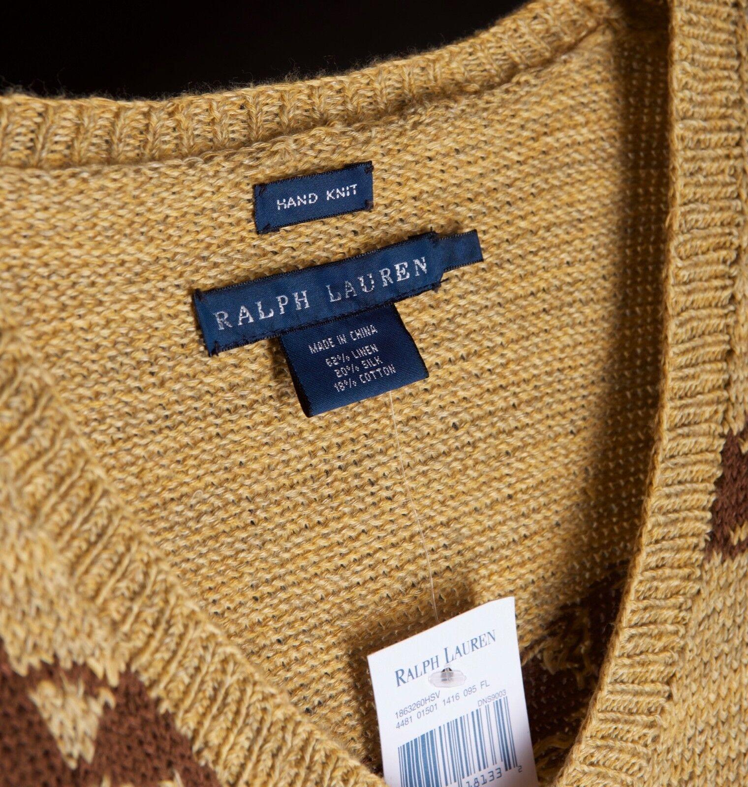 NWT Ralph Lauren Southwestern Aztec Navajo Hand Knit Linen Silk Sweater  M
