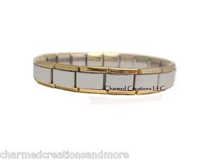 Image Is Loading 9mm Italian Charm Starter Bracelet Gold Trim Shiny