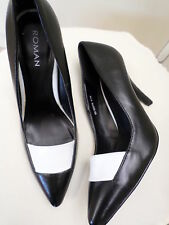 NEW 'ROMAN' COURT SHOES UK  5 - EU 28 BLACK LEATHER WHITE DECOR STUNNING