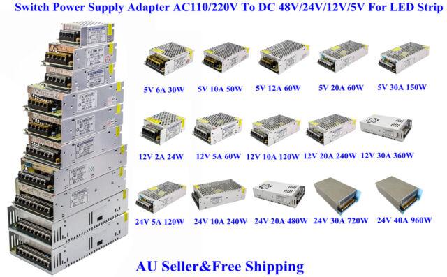 AU Switch Power Supply Adapter AC110/240V To DC 48V/24V/12V/5V For LED Strip 3D