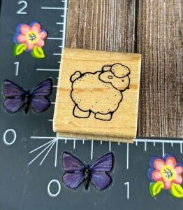 JRL Design Small Sheep Lamb Rubber Stamp Wood Mount #B87