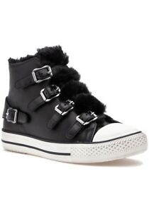 Ash-Brand-Women-039-s-Valko-High-Top-Leather-Shoes-Sneakers-Black-Faux-Fur-Soft-New