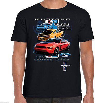 Espressive Da Uomo Ford Mustang T Shirt Con Licenza Autentica Classico Americano Boss 302 Muscle Car- Ricco Di Splendore Poetico E Pittorico