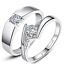 925 Plaqué Argent Hommes Femmes Mariage Engagement Cristal Bague Bijoux Réglable