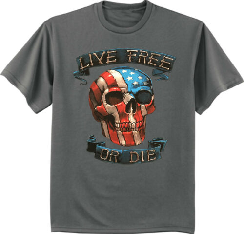 Big and Tall t-shirt live free or die USA American flag skull decal tee bigmen