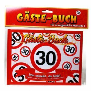 Geburtstag Gästebuch 30 Jahre Verkehrsschild Party Deko Gäste - Buch (8.99€/1EA)