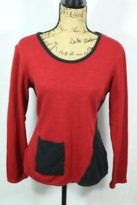 Parsley-and-Sage-Women-039-s-Medium-Soft-Knit-Pullover-Top-Red-Black-Tunic-Pocket