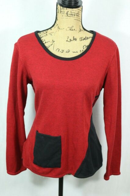 Parsley and Sage Women's Medium Soft Knit Pullover Top Red Black Tunic Pocket
