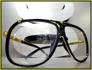 5828309f977 Mens CLASSIC VINTAGE RETRO Style Clear Lens EYE GLASSES Black Gold Fashion  Frame