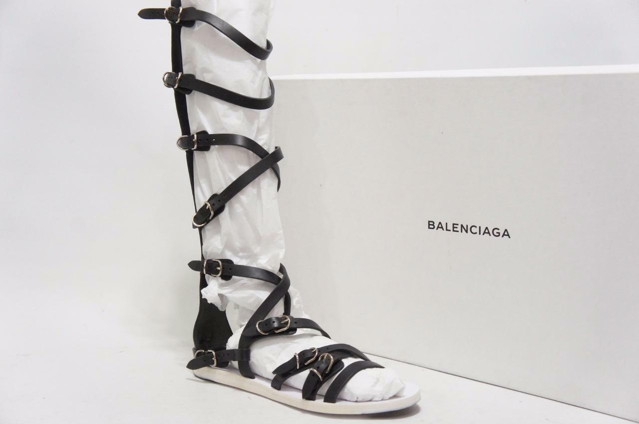 BALENCIAGA GLADIATORS BLACK LEATHER SANDALS BOOTS SHOES 36.5 6