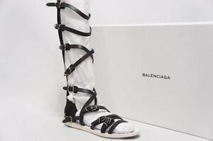 BALENCIAGA GLADIATORS BLACK LEATHER SANDALS BOOTS SHOES 39.5/9  95
