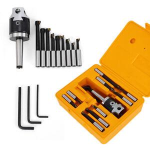 Boring Bar 9pcs 12mm Boring Head 50mm CNC Milling Tools Set Kit MT2-M10 F1-12 US