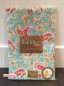 New Nicole Miller Home Blue Red Paisley Tablecloth 70 Round Water
