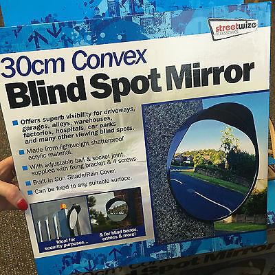 Driveway Convex Security /& Blind Spot Bend Mirror Black Garage 40cm Outdoor