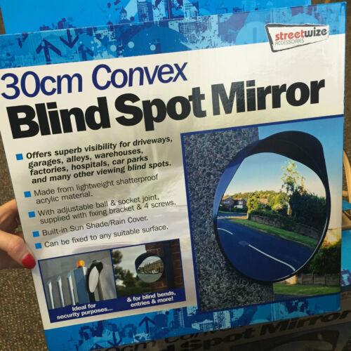SW 30cm Outdoor, Garage, Driveway Convex Security & Blind Spot Bend Mirror-Black