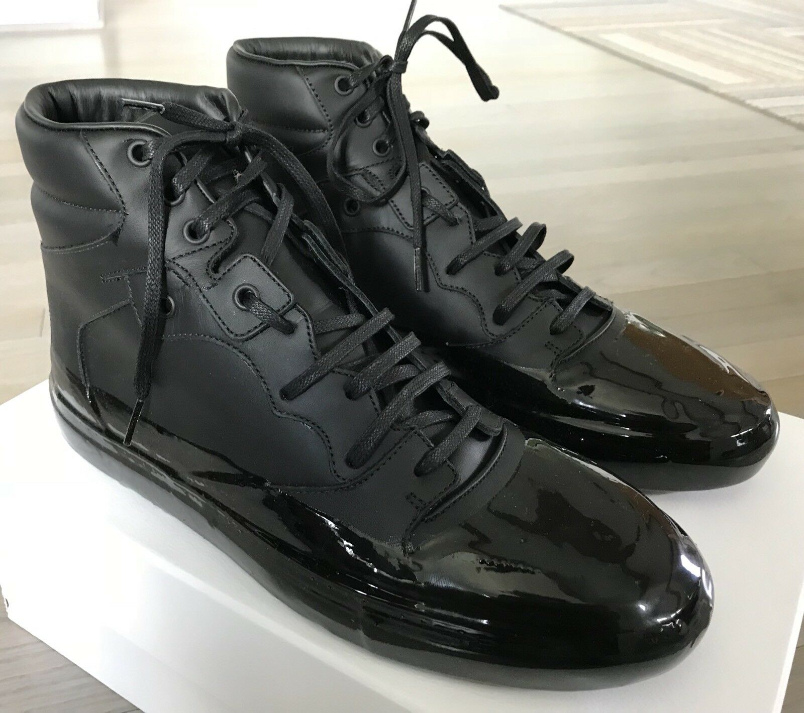 800$ Balenciaga Black High Tops Sneakers size US 12, Made in Italy