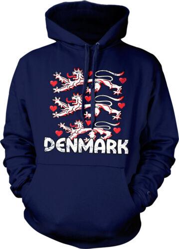 Lions Danish Pride Hoodie Pullover Distressed Denmark Coat of Arms