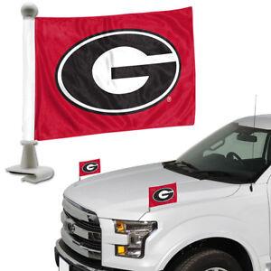 Georgia-Bulldogs-Set-of-2-Ambassador-Style-Car-Flags-Trunk-Hood
