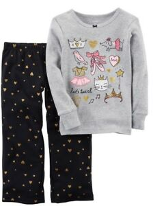 abcc0b8cb Carter's Ballerina Pajamas 2-Piece Knit & Fleece Sleepwear Set Girl ...