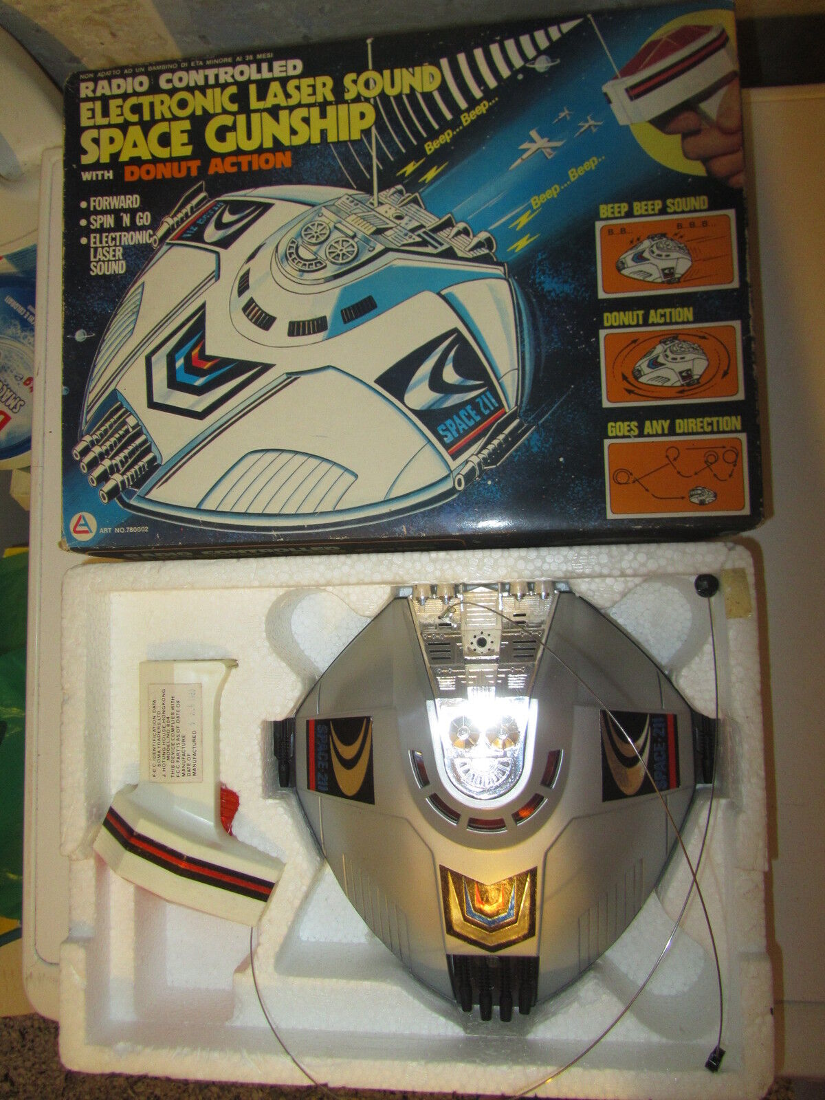 Electronic Laser Sound Space Gunship Battery Operated Astronave Robot '70 ALES