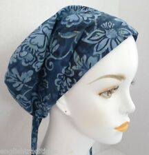 Blue Floral Batik Chemo Cancer Hair Loss Turban Hat Alopecia Cotton Head Scarf