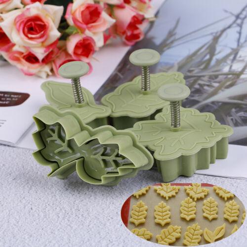 4Pcs//set DIY bake mold leaf shape 3D cookie cutter biscuit molds kitchen toolDP