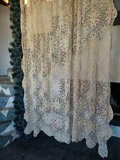 VINTAGE RETRÒ SHABBY CHIC hand-crocheted cotone Cortina / copriletto / tablecloth